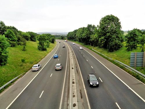 Crossing the M65 Motorway