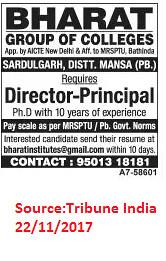 Bharat Group of college,Director/Principal,Sardulgarh Distt Mansa.