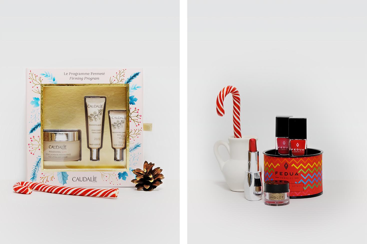 Слева: набор Caudalie Resveratol [Lift]. Справа: пигмент Inglot, лаки Fedua, помада-металлик Kiko Milano Arctic Holiday.