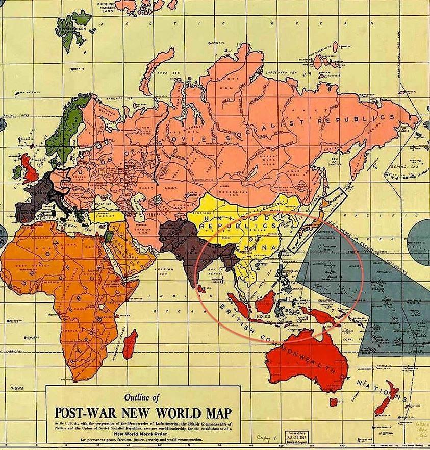 The Post War II New World Order Map ซึ่งประดิษฐ์โดย Maurice Gomberg