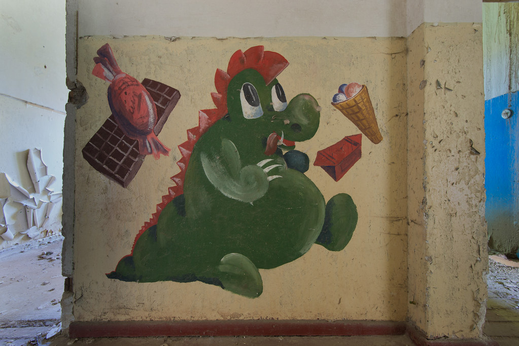 ... Children Mural Inside An Abandoned Officer House. On The Other Side Was  This Mural |