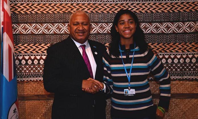 15歲的Zuriel Oduwole創辦了非洲女性和兒童組織,在COP23爭取到各國總理會面討論的機會。(來源)