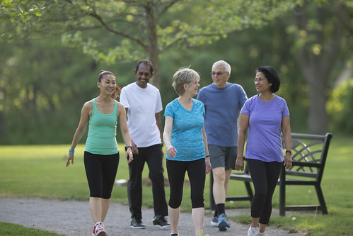 A multi-ethnic group of senior adults walking together on a trail
