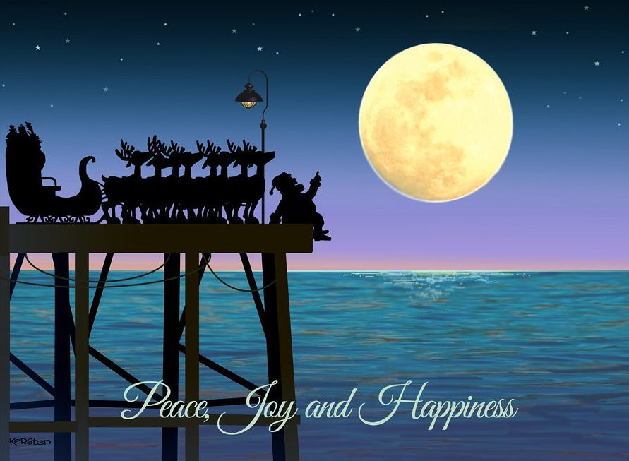 Stargazing on a Pier - Peace, Joy, and Happiness - Inside Card: Wishing you all the gifts of a holiday season