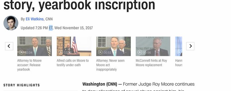 Screenshot of the CNN page with the video completely removed