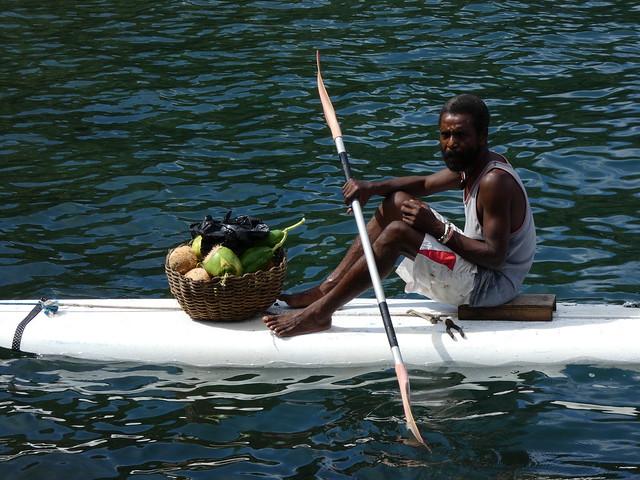 Lugareño en San Vicente (Islas del Caribe en crucero)