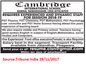 Cambridge International School,PGTs,Teachers,Nawanshahr.