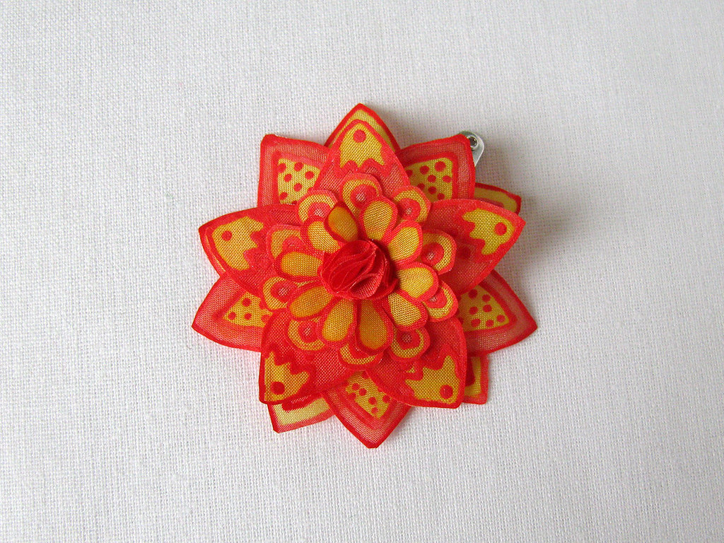 Small bright red flower silk flower hair pin hand painte flickr small bright red flower silk flower hair pin by simutes mightylinksfo