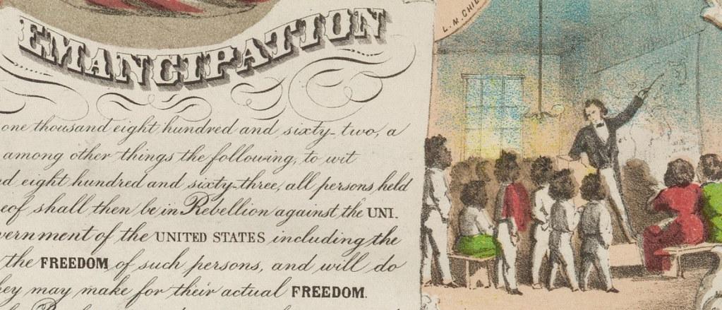 老師教授奴隸解放宣言的插圖。圖片來源:Jim Surkamp (CC BY-NC 2.0)。