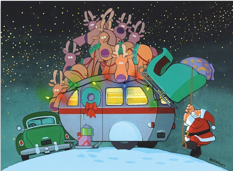 Santa landed on top of a classic camper (Christmas Card)