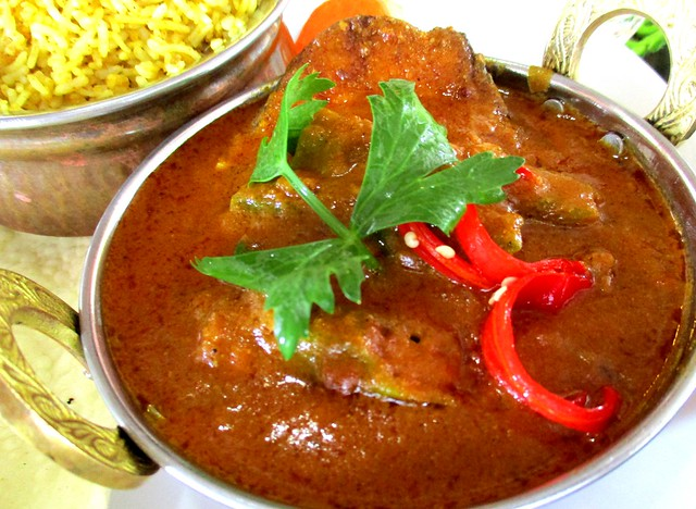 The Cafe IND Indian menu, fish curry with bryani rice