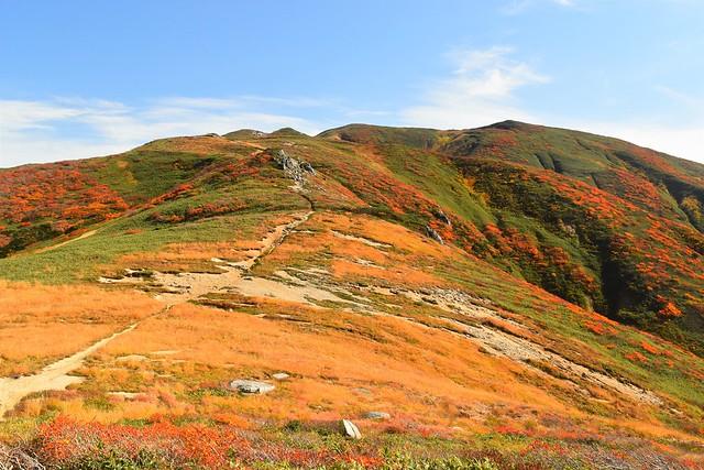 朝日連峰 紅葉に彩られた稜線