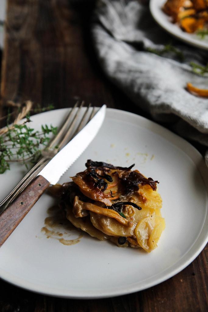 Gratin de pommes de terre aux champignons {vegan - sans gluten}