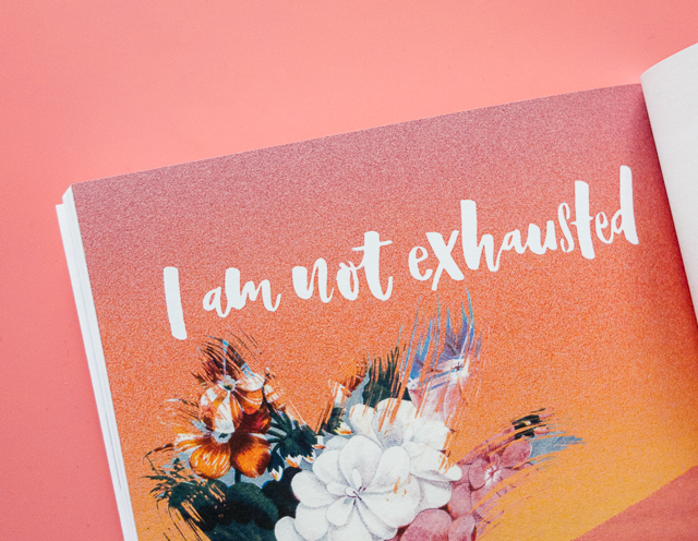 lettering - i am not exhausted - over illustration by laura redburn