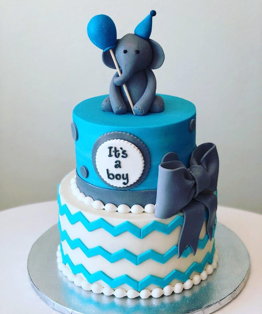 Elephant Birthday Balloon Cake