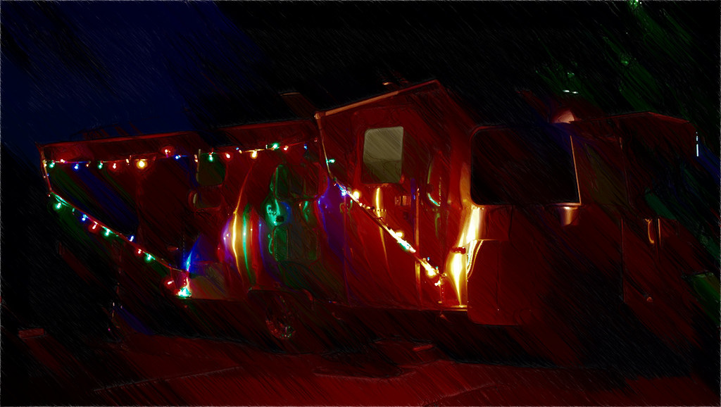 Christmas Lights on an Airstream - rendered using Akvis Sketch