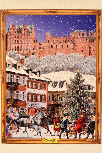 Adventskalender mit Bild, Glimmer und Glitzer ... Ansicht Heidelberger Schloss
