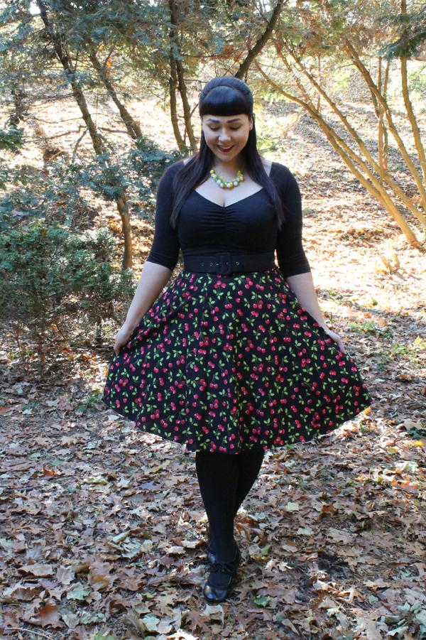 cherry print skirt