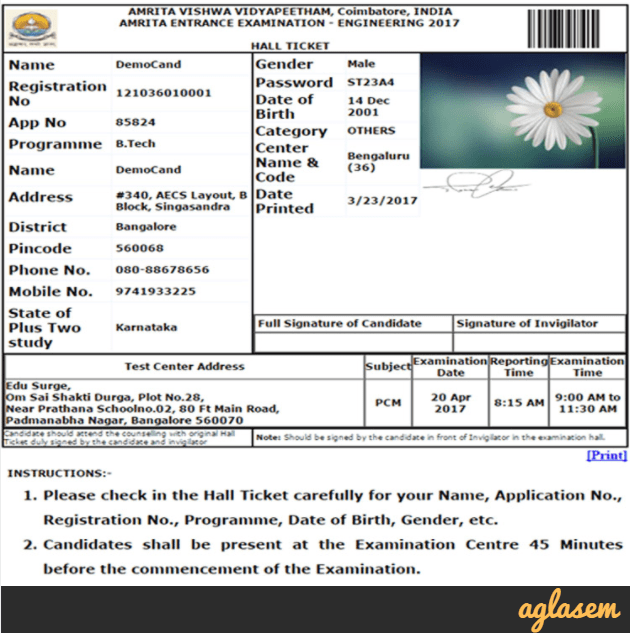 Admit Card of AEEE 2018