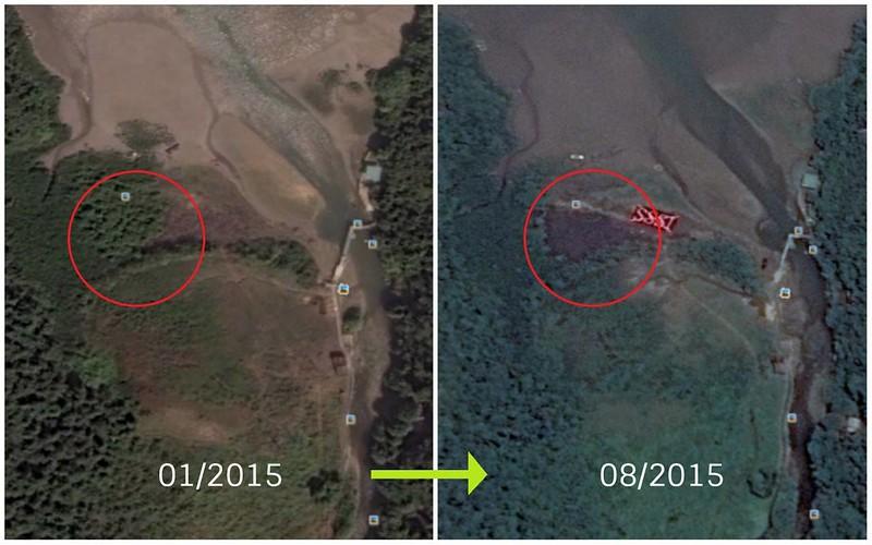 由2015年1月至8月期間,紅框位置內可見有植被遭剷走。圖片來源:Google Earth。