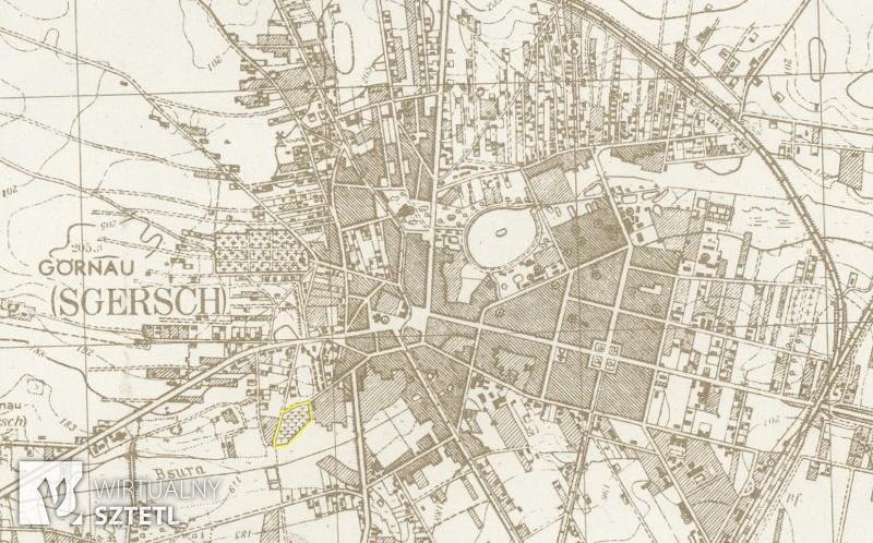 Lokalizacja kirkutu w Zgierzu na niemieckiej mapie topograficznej z 1944 r.