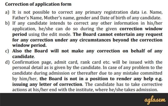 WBJEE 2018 Application Form Correction