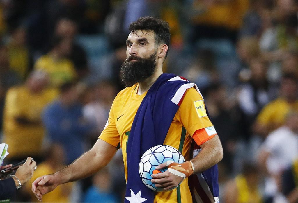 Mile Jedinak以帽子戲法幫助澳洲踢進世界盃。(達志影像)