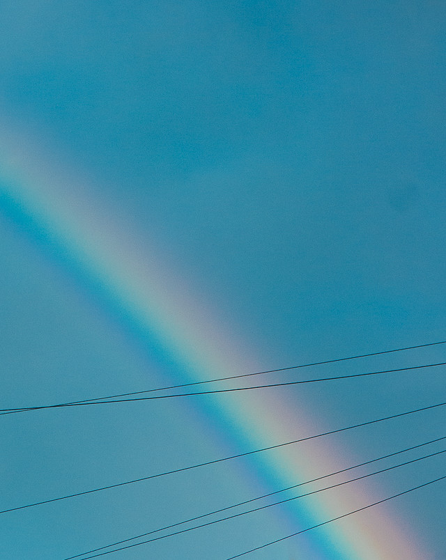rainbow on blue sky