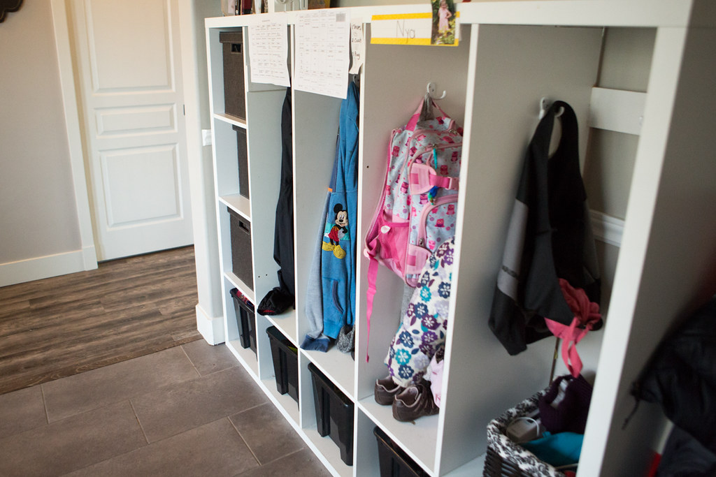 IKEA hack of a TV stand to lockers for the kids