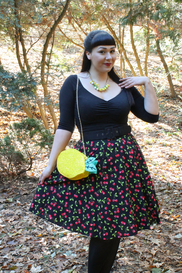 lemon purse cherry skirt