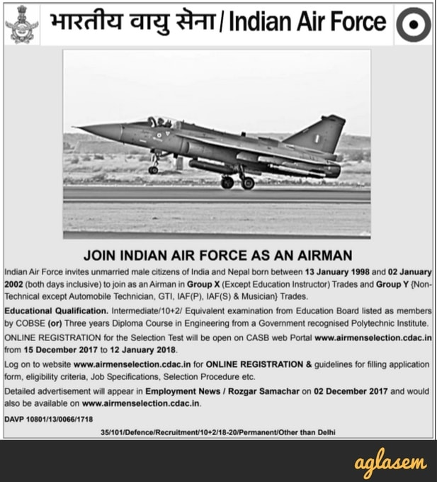 Indian Air Force Airmen Batch 01/2019 Selection Group X and Y