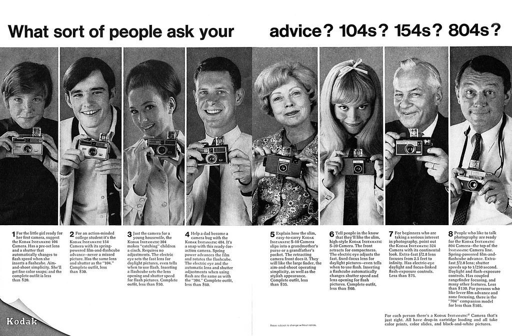 "Kodak Instamatic cameras advertisement  | 1968 January, ""U S"