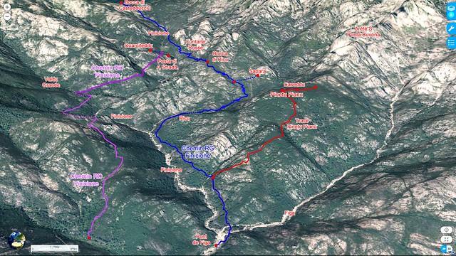 """Photo 3D du Haut-Cavu avec l'ensemble du ruisseau du Finicione et le tracé du """"Chemin de la Montagne aux Plages"""" (Castedducciu) par la rive gauche et sa variante par la rive droite en vue latérale"""