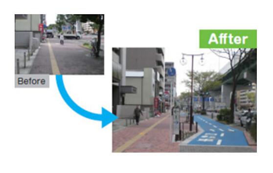透過腳踏車道的設置,引導人車分流。