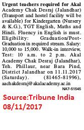 Akal Academy,Teacher,TGT,Jalandhar.
