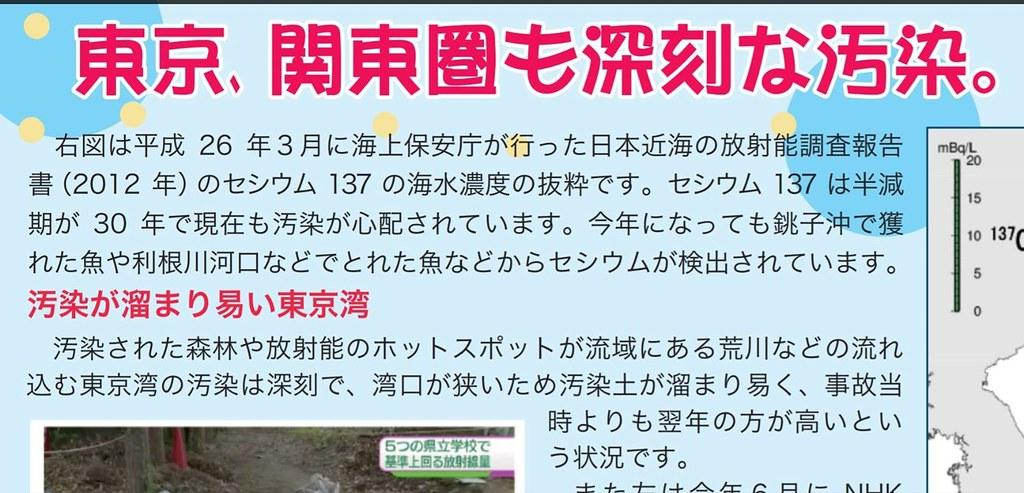 圖5:災民團體抗議傳單,依據海上防衛廳等資料,說明「東京、關東圈的汙染也很嚴重。」