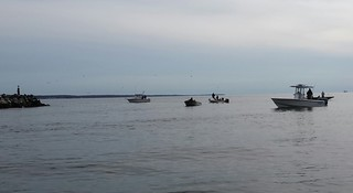 Photo of boats jigging near one of the bay bridge's rock piles