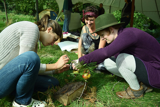 3 women gather round focused on a task. With log, bracken and apples in shot.