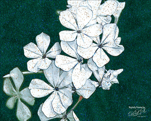 Image of white flowers on a green glitter texture