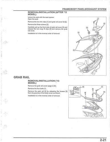 Honda 2013-2017 PCX Service Manual - 03 Grab Rail | by kiapolo