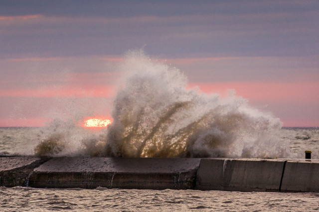 Sunrise, Waves, Pier, Lake Michigan, Algoma, WI