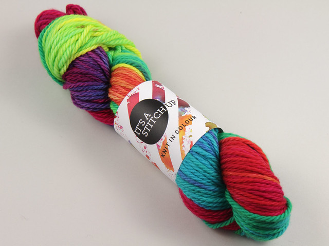 Chunky Merino – hand-dyed superwash pure wool yarn 100g – 'Lollipop' (a bright rainbow)