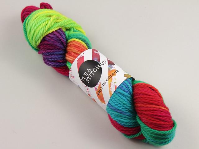 Chunky Merino – hand-dyed superwash pure wool yarn 100g – 'Lollipop' (a bright rainbow)