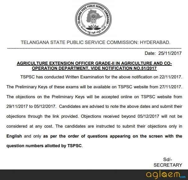 TSPSC AEO Answer Key 2017 Available - Check Here