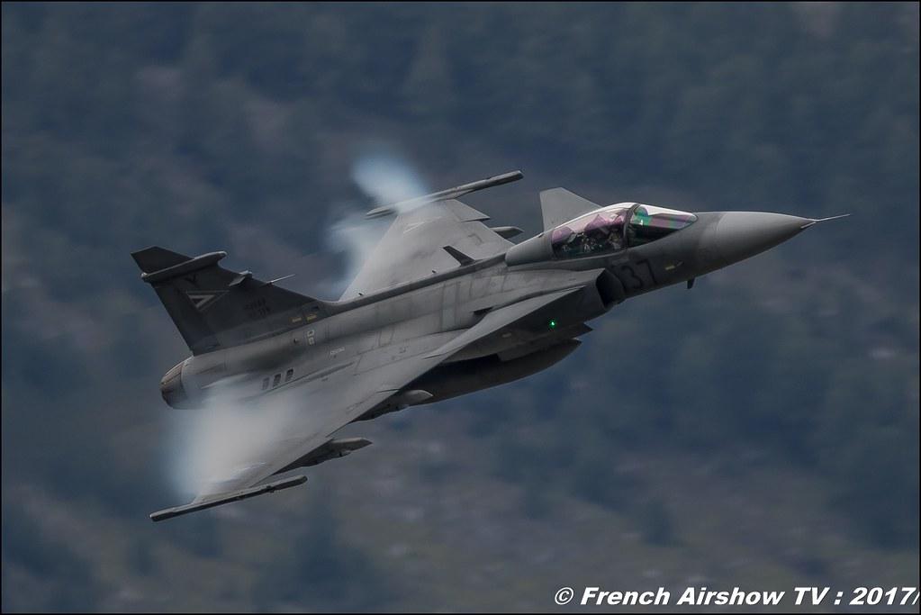 Saab JAS 39 Gripen , Hongrie , Griffon , Breitling Sion Air Show 2017 , sion airshow , montagne , Alpes suisse , Canton du Valais , Meeting Aerien 2017
