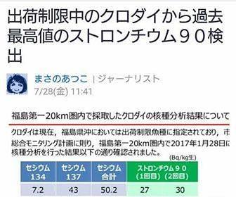 圖7:今年在限制出貨海域抓到放射性鍶(ストロンチウム90、表格綠色部分)汙染破記錄的魚。