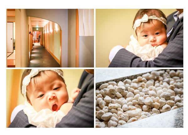 お食い初め・100日参りのロケーション撮影 岐阜都ホテル内の料亭(料理屋) 服装は? ママもお着物 女性カメラマンによる出張撮影でオシャレで自然な写真