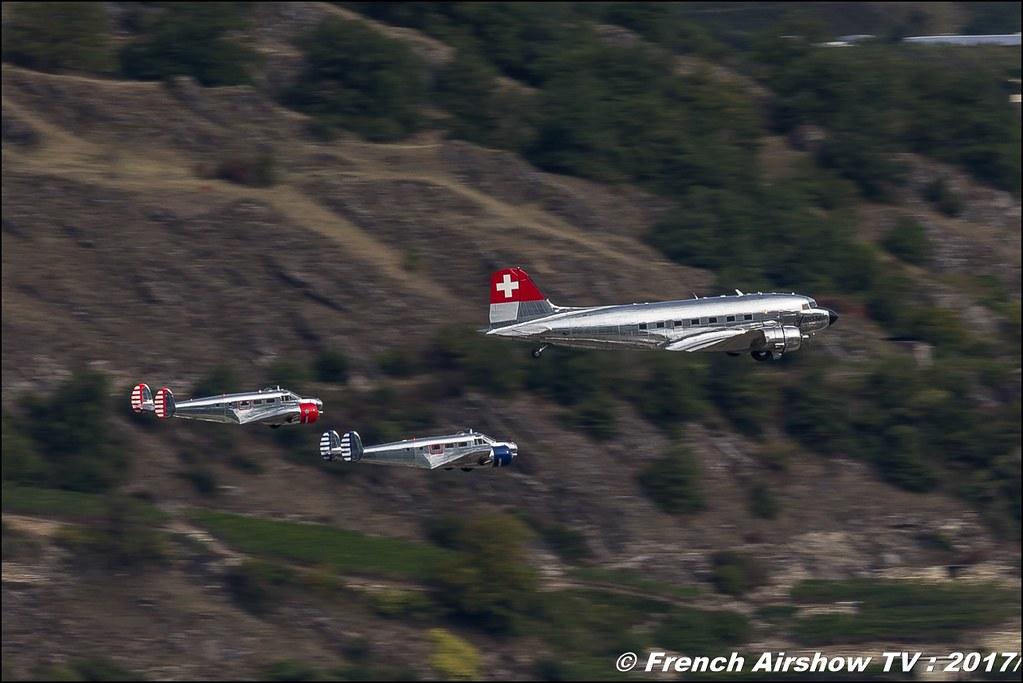 Beech-18 and Douglas DC-3 Breitling classic formation, Breitling Sion Air Show 2017 , sion airshow , montagne , Alpes suisse , Canton du Valais , Meeting Aerien 2017