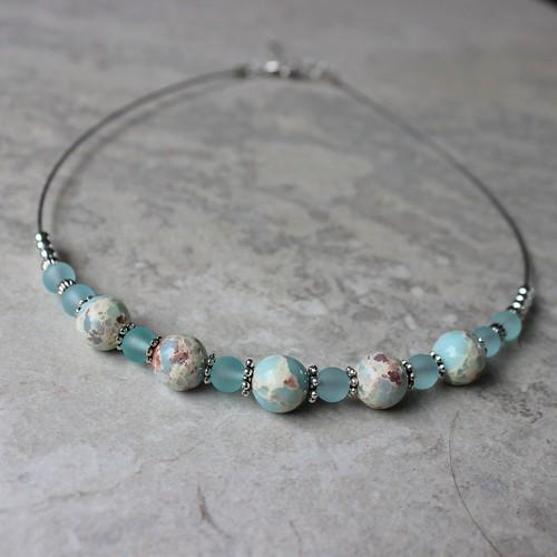 necklace Aqua beaded necklace!...