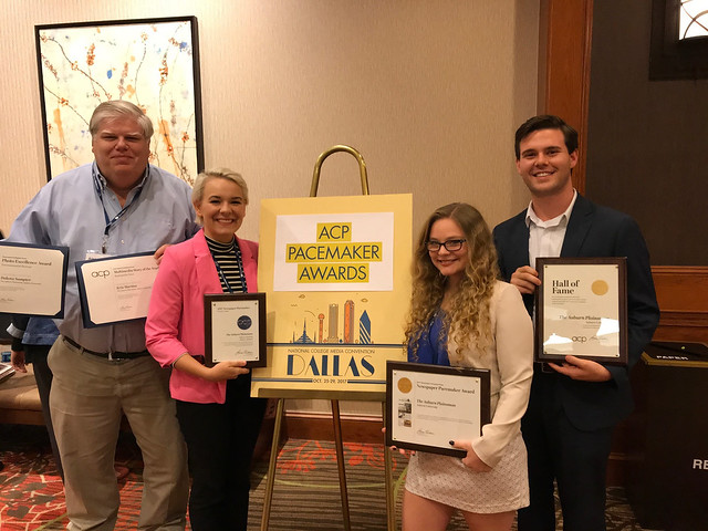 Alec Harvey, Lily Jackson, Jessica Ballard and Chip Brownlee show off the Plainsman awards received at the College Media Association/Associated Collegiate Press conference in Dallas